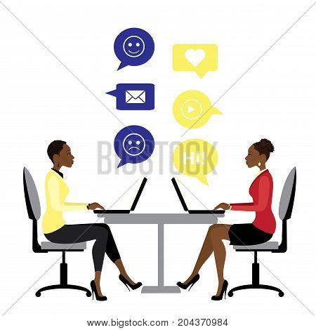 African American Office Workers Or Business Woman Sitting At The