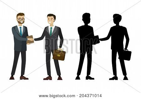 Businessman Handshake With Silhouette Isolated On White Backgrou