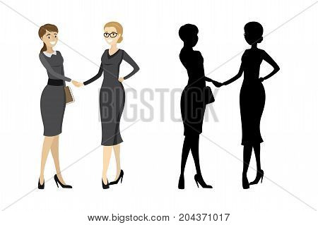 Business Woman Handshake With Silhouette Isolated On White Backg