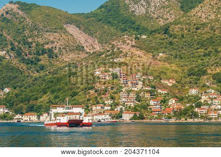 Car ferry linking the towns of Herceg Novi and Kotor across the Bay of Kotor, Montenegro