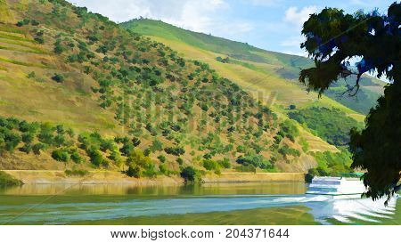 Cruise Ship on the River Douro in Portugal Stylized Photo