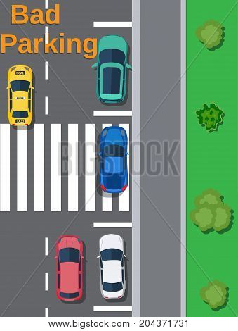 City parking lot with different cars. Shortage parking spaces. Bad or wrong car parking. Traffic regulations. Rules of the road. Vector illustration in flat style