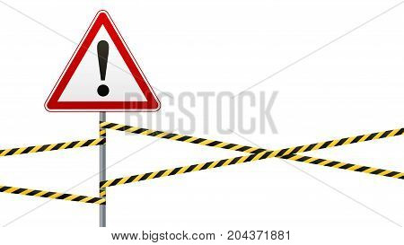 Danger Safety warning sign. White triangle with red frame and black image. sign on pole and warning bands. illustration