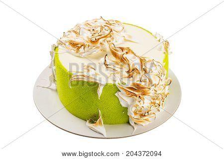 Green Birthday Cake With Italian Meringue Isolated On White