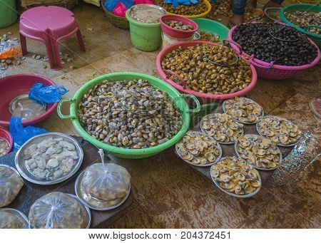 Sale Of Seafood In The Markets Of India