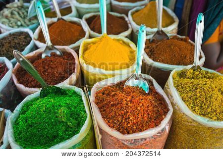 Sale Of Spices In The Markets Of India