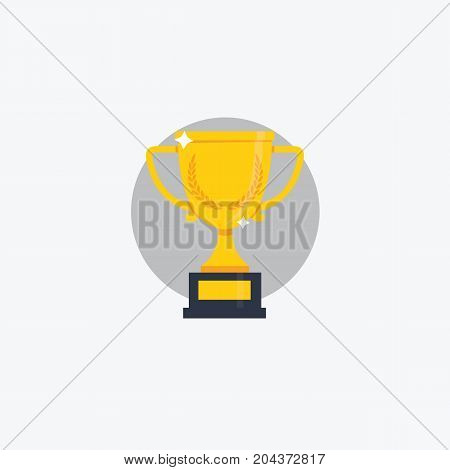 Flat Trophy Cup Illustration. Flat Design Of Champions Cup