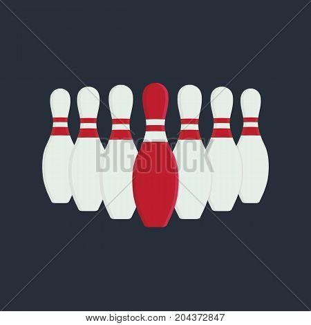 Leader Illustration. Flat Design of Bowling Skittles
