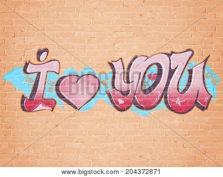 I love you graffiti style. Brick wall