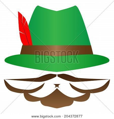 Green German Alpine Octoberfest hat with red feathers. Hunter hat with feather. Traditional Bavarian hunting hat with feather and sign  moustache, bearder. Octoberfest symbol. Colorful vector illustration.