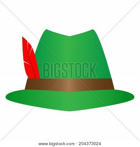 Green German Alpine Octoberfest hat with red feathers. Hunter hat with feather.  Traditional Bavarian hunting hat with feather and sign moustache, bearder. Octoberfest symbol. Colorful illustration.