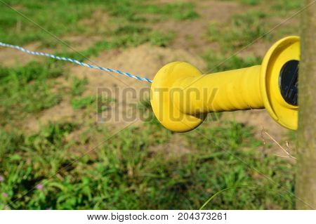 closeup of an electric fence, cattle protection