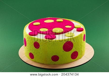 Bright Colorful Birthday Cake With Green And Pink Dots