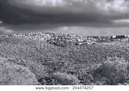 Galilee mountains arab settlement in Israel. Panorama of Galilee- the Northern District of Israel. Black and White Picture