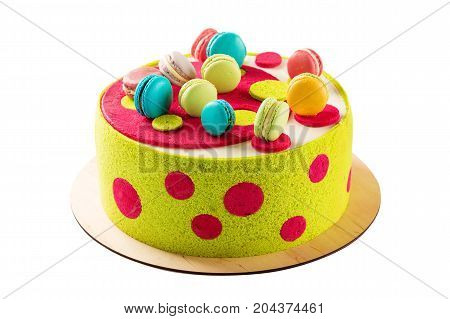 Colorful Cake Decorated With Macaroons Isolated On White