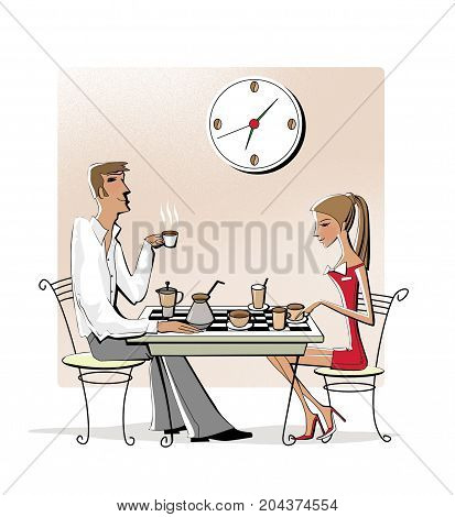 Young woman and man drinking coffee at a chessboard. Business break. Isolated on white background. Raster illustration.
