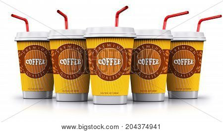 Creative abstract 3D render illustration of the set group or row of the plastic or cardboard paper coffee to go or take away drink disposable cups or mugs with red straws isolated on white background with reflection effect
