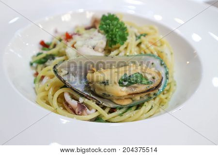 spaghetti or  seafood spaghetti dish ,Italian food