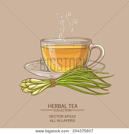 cup of lemongrass tea on color background