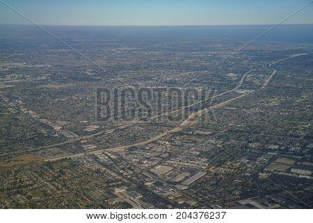 Aerial View Of Santa Fe Springs, Norwalkm Bellflower, Downey, View From Window Seat In An Airplane