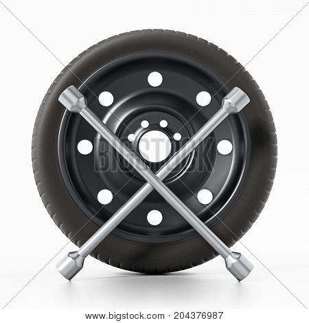 Spare car tyre and wheel nut wrench isolated on white background. 3D illustration.