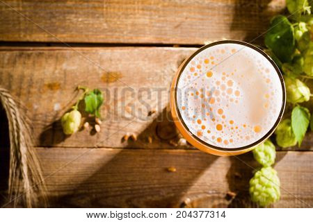 Top view on pint of beer with ingredients for homemade beer.