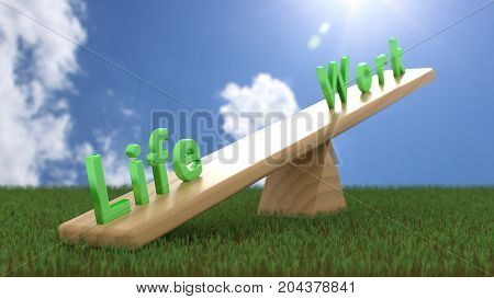 The green words life and work on a seesaw with life being heavier in the front work-life balance concept 3D illustration
