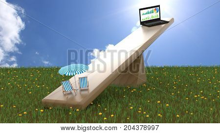 Seesaw on green grass on a blue sky sunny day with a business notebook on one end and two beach chairs and an umbrella on the other end work life balance concept 3D illustration