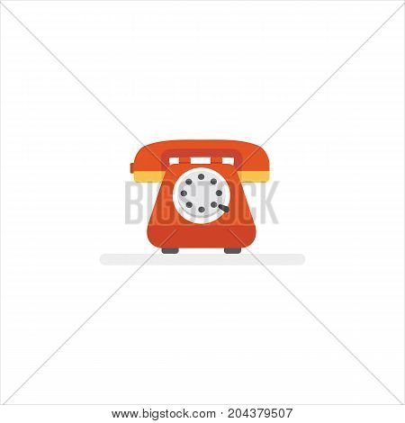 Telephone service Illustration. Flat Design of Vintage Telephone