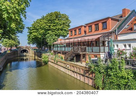 GREETSIEL, GERMANY - JULY 18, 2017: Restaurant at the canal in Greetsiel, Germany