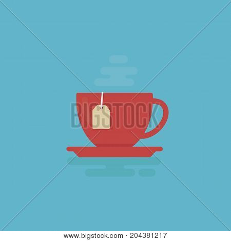 Cup Of Tea With Steam Illustration. Tea Time Concept. Flat Design of Cup of Tea Isolated
