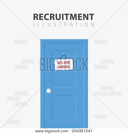 Door with a Vacancy Sign. Business hiring and recruiting concept. Vector illustration