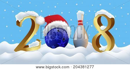 Vector New Year illustration. Bowling 2018 New Year sign with bowling ball and skittle on snowing background.