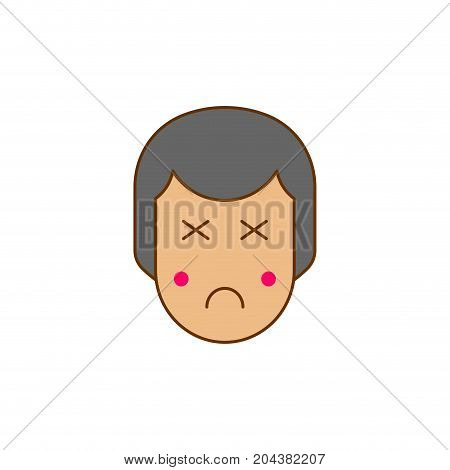 Blind Person Face Head Icon. Vector Illustration