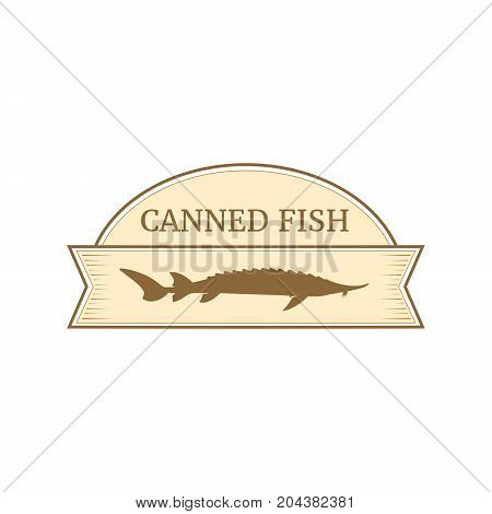 Vector logo template for fish preserves. Illustration of sturgeon fish. Can be used for emblem on canned fish. EPS 10. Design element for fish-menu banners wrapping paper.