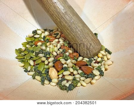 Nuts And Seeds In A Bowl For Pounded Tea, Lei Cha