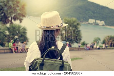 Girl With Backpack Viewing To The Sea.