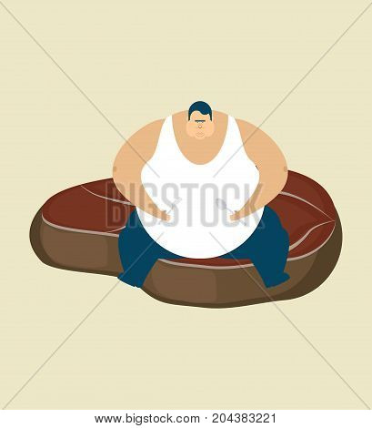 Fat Guy And Steak. Glutton Thick Man And Piece Of Meat. Fatso Vector Illustration