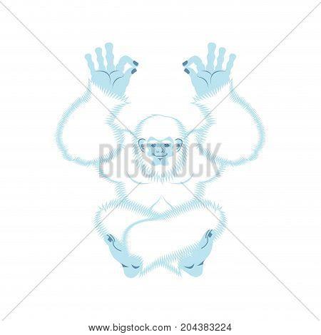 Yeti Yoga. Bigfoot Yogi. Abominable Snowman Relaxation And Cognition. Vector Illustration