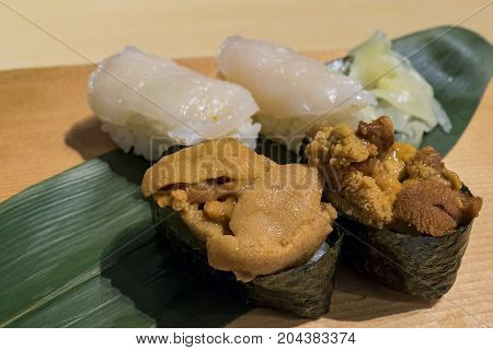 Delicious Close Up Of Japanese Style Seafood Sushi