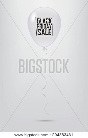 White balloon with Black Friday Sale text. Vector illustration.
