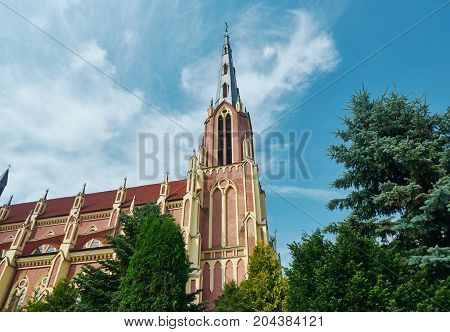Catholic Church in Gothic Revival style in Gervyaty Grodno region Belarus