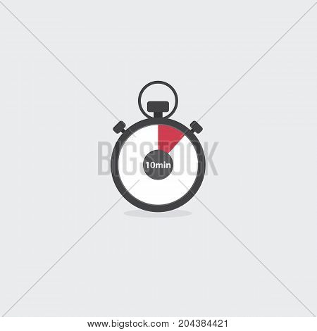 Flat Stopwatch Icon Isolated. Countdown Clock Concept. Vector Illustration