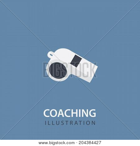 Flat White Whistle Isolated. Sport Coaching Concept. Vector Illustration