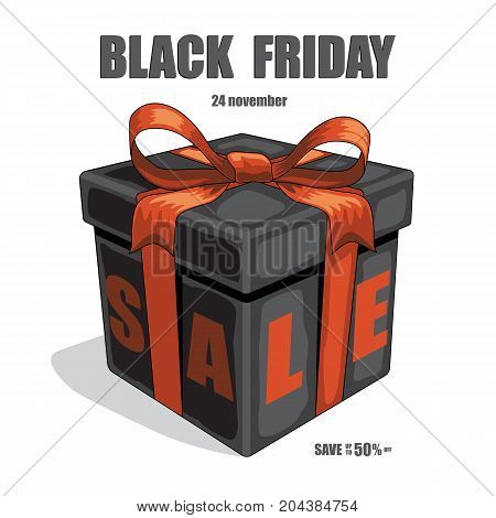 Vector black friday illustration. Black gift box with red ribbon and bow and Black Friday Sale text.