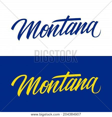 Handwritten U.S. state name Montana. Calligraphic element for your design. Vector illustration.
