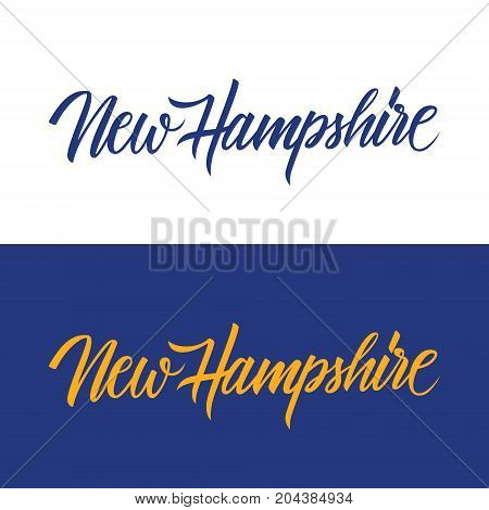 Handwritten U.S. state name New Hampshire. Calligraphic element for your design. Vector illustration.