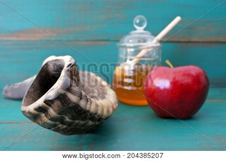 Shofar Honey And Apple On A Turquoise Background