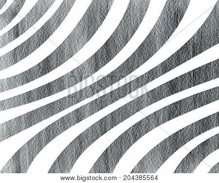 Silver Painted Curved Striped Background.