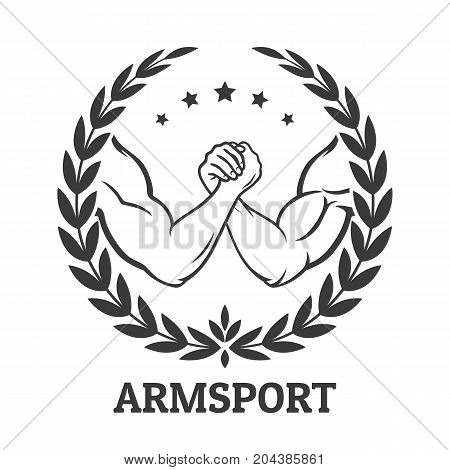 Arm wrestling logo with two men hands, stars and laurel wreath. Vector illustration